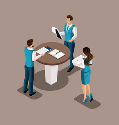 Isometric bank employees in the banks office cond vector