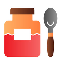 jam jar and spoon flat icon fruit jam color icons vector image