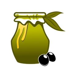 Jar of fresh green olive oil vector