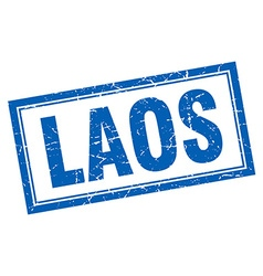 Laos blue square grunge stamp on white vector