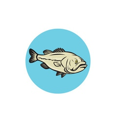 Largemouth bass fish side circle cartoon vector