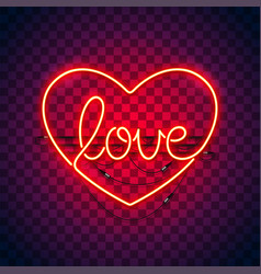 love heart neon sign on transparency vector image