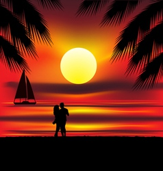 lovers on beach vector image