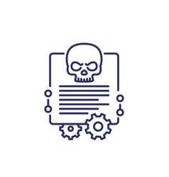 Malware cyber attack line icon vector