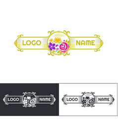 Many flowers logo five vector