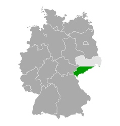 Map of Germany with flag of Saxony vector