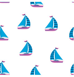 marine seamless pattern cartoon boats vector image