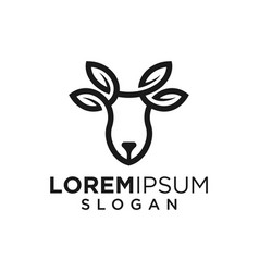 Monoline lineart outline deer leaf icon logo vector