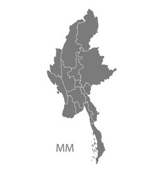 Myanmar with states map grey vector
