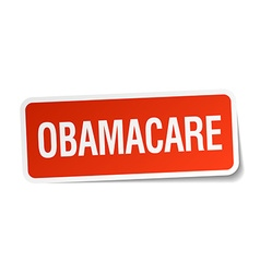 Obamacare red square sticker isolated on white vector