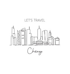 one single line drawing chicago city skyline vector image