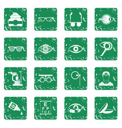 Ophthalmologist tools icons set grunge vector