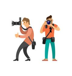 Paparazzi journalist making photos on cameras vector