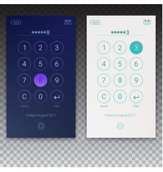 passcode interface for lock screen login enter vector image