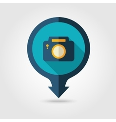 Photo Camera pin map flat icon Summer Vacation vector