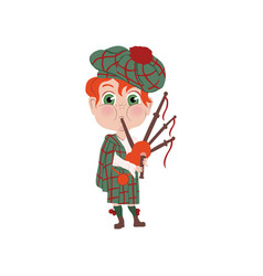 Red hair boy with striped hat scottish nation vector