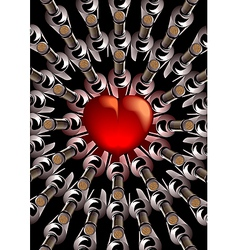 Red heart with bottles of wine vector
