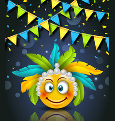rio party carnaval festive banner smile emoji vector image