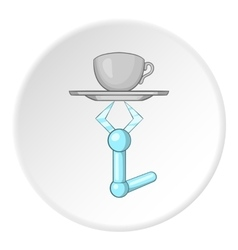 Robot arm holding tray with mug of tea icon vector