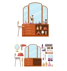 Room interior with dressing table woman cosmetics vector