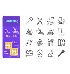 set gardening simple lines icons equipment vector image