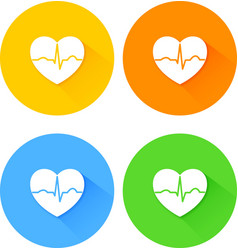Set of flat long shadow heart icons vector