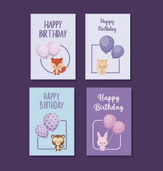 set of happy birthday cards with cute animals vector image