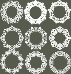 Set of separated round lacy ornaments vector