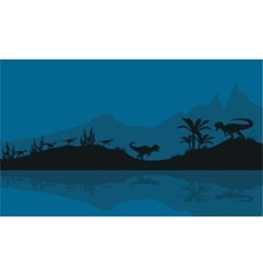 Silhouette of Allosaurus in riverbank vector