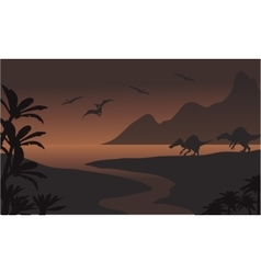 Silhouette of spinosaurus in riverbank and vector image