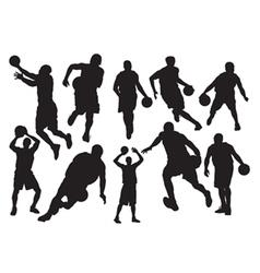 Silhouettes basketball vector