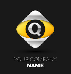 silver letter q logo in the silver-yellow square vector image