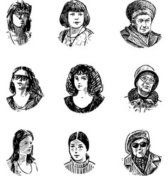 Sketches faces women different ages vector