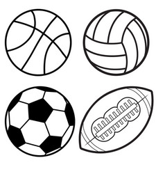 sports balls minimal flat line icon set soccer vector image