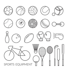 Sports Equipment Line Icons Set vector