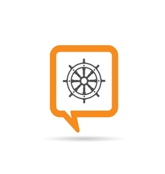square orange speech bubble with rudder icon vector image