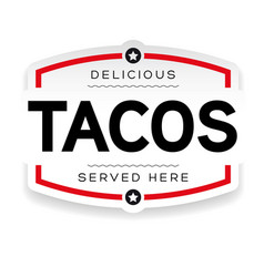 tacos vintage label sign vector image