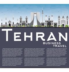 Tehran Skyline with Gray Landmarks Blue Sky vector