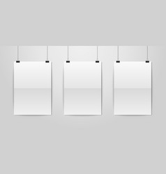 three realistic white blank vertical a4 vector image