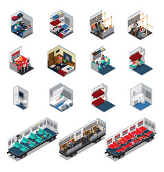 train interior isometric set vector image