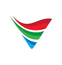 Triangle arrow wave business logo vector