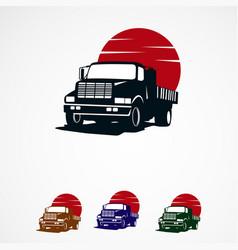 Truck sun logo template designs for company vector