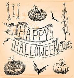 vintage hand drawn halloween seven vector image