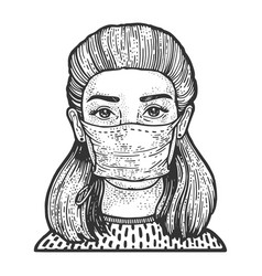 woman in medical mask sketch vector image