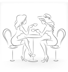 Woman sit in the cafe and drink coffee vector image