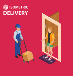fast delivery flat isometric concept the vector image vector image