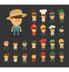Group of professions cartoon characters vector image