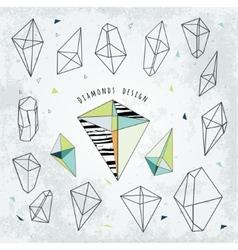 Line shapes cristal geometry Diamonds design vector image