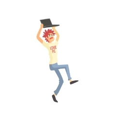Programmer Angry Holding Lap Top Above Head Funny vector image