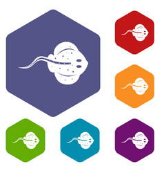 stingray fish icons set hexagon vector image vector image